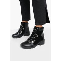 Womens Lace Up Chunky Hiker Boots - Black - 7, Black
