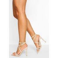 Womens Wide Fit Pointed Toe Strappy Heel - Beige - 5, Beige