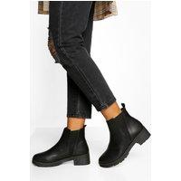 Womens V Detail Chunky Chelsea Boots - Black - 5, Black