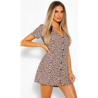 Womens Leopard Print Button Shift Dress - Brown - 12, Brown