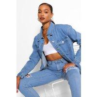 Womens Denim Fray Hem Lonline Jacket - Blue - 8, Blue