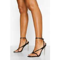Toe Post Ankle Strap Clear Heels, Black