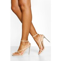 Toe Post Ankle Strap Clear Heels, Beige