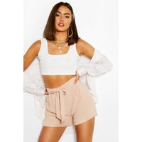 Womens Linen Tie Front Shorts - Beige - 10, Beige