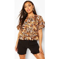 Womens Tiger Print Round Neck Frill Hem Top - Brown - 8, Brown