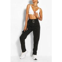 Womens Belted Front Seam Jean - Black - 8, Black