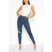 Womens Knee Rip Skinny Jean - Blue - 10, Blue