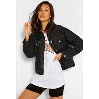 Womens Ripped Detail Denim Jacket - Black - 8, Black