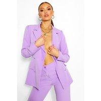 Tailored Double Breasted Self Belt Blazer - Purple - L, Purple