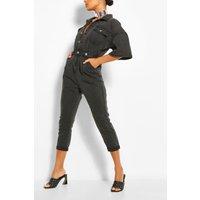 Womens Waist Detail Denim Jumpsuit - Black - 6, Black