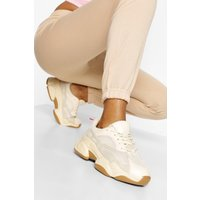 Womens Contrast Piping Chunky Trainers - Beige - 8, Beige