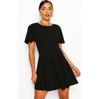 Flute Sleeve Skater Dress - Black - 8, Black