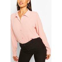 Woven Button Through Shirt - Pink - 14, Pink