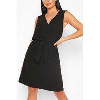 Sleeveless Woven Belted Shift Dress - Black - S, Black