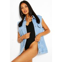 Womens Sleeveless Denim Jacket - Blue - 10, Blue