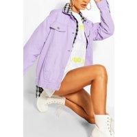 Womens Oversized Denim Jacket - Purple - 10, Purple