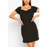 Rib Ruch Detail Mini Dress - Black - S, Black