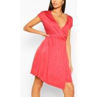 Wrap Asymmetric Dress - Red - Xs, Red