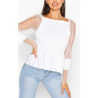 Womens Shirred Dobby Sleeve Off The Shoulder Top - White - 14, White