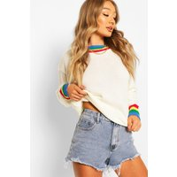 Womens Rainbow Trim Cropped Jumper - White - M/L, White