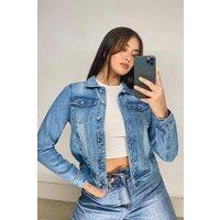 Womens Pocket Detail Denim Jacket - Blue - 10, Blue