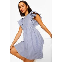 Womens Frill Sleeve Stripe Mini Dress - Blue - 8, Blue
