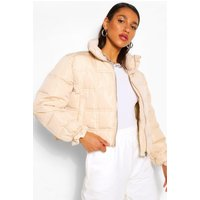 Womens Square Quilted Puffer Jacket - Beige - 10, Beige