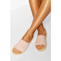 Womens Woven Flatform Slider - Pink - 4, Pink