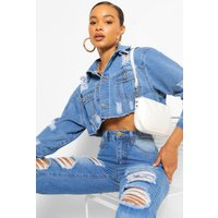 Womens Extreme Rip Cropped Denim Jacket - Blue - 8, Blue