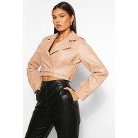 Womens Buckle Detail Faux Leather Jacket - Beige - 8, Beige