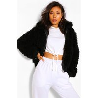 Womens Textured Teddy Faux Fur Jacket - Black - 8, Black