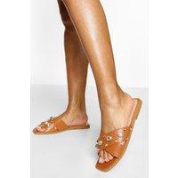 Womens Embellished Cross Strap Slider - Brown - 6, Brown