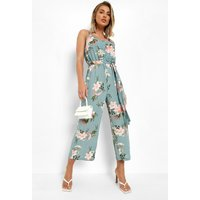 Womens Floral Print Strappy Culotte Jumpsuit - Green - 10, Green