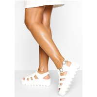 Womens Chunky Cleated Sandals - White - 4, White