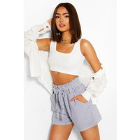 Womens Woven Stripe Belted Casual Shorts - Blue - 10, Blue