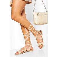 Womens Wrap Strap Flat Sandal - Beige - 7, Beige