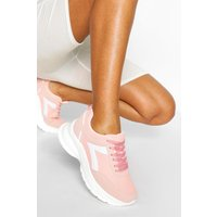 Womens Chunky Lace Up Sports Trainer - Beige - 4, Beige