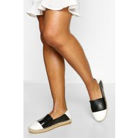 Womens Contrast Panel Espadrilles - Black - 7, Black