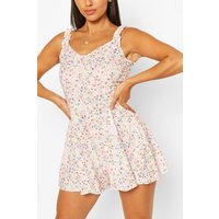 Womens Ditsy Print Frill Strap Swing Playsuit - Pink - 12, Pink