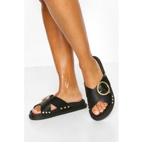 Womens Buckle Trim Footbed Slider - Black - 4, Black