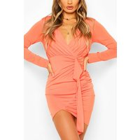 Womens Long Sleeve Wrap Mini Dress - Orange - 14, Orange