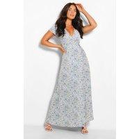Womens Plunge Front Floral Tie Maxi Dress - Blue - 16, Blue