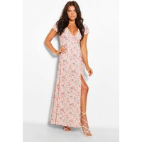 Womens Plunge Front Floral Tie Maxi Dress - Pink - 10, Pink
