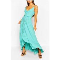 Womens Frill Drop Hem Belted Maxi Dress - Green - 16, Green