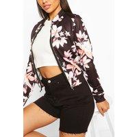 Womens Floral Print Bomber Jacket - Black - 12, Black