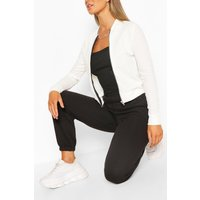 Womens Crepe Bomber Jacket - White - 8, White