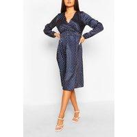 Womens Abstract Spot Button Front Midi Dress - Multi - 10, Multi