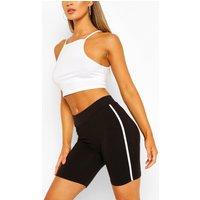 Womens Basic Side Stripe Cycling Shorts - Black - L, Black