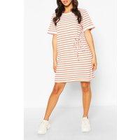 Womens Striped T-Shirt Dress - Orange - S, Orange