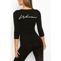 Womens Fit Woman Script Gym Top - Black - 10, Black
